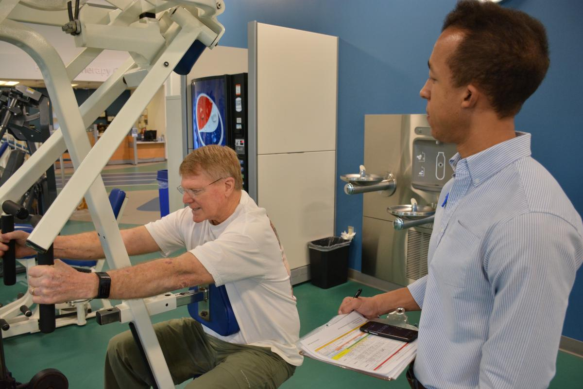 Harry Chambers undergoes a series of exercise tests that monitor his cardiopulmonary function.