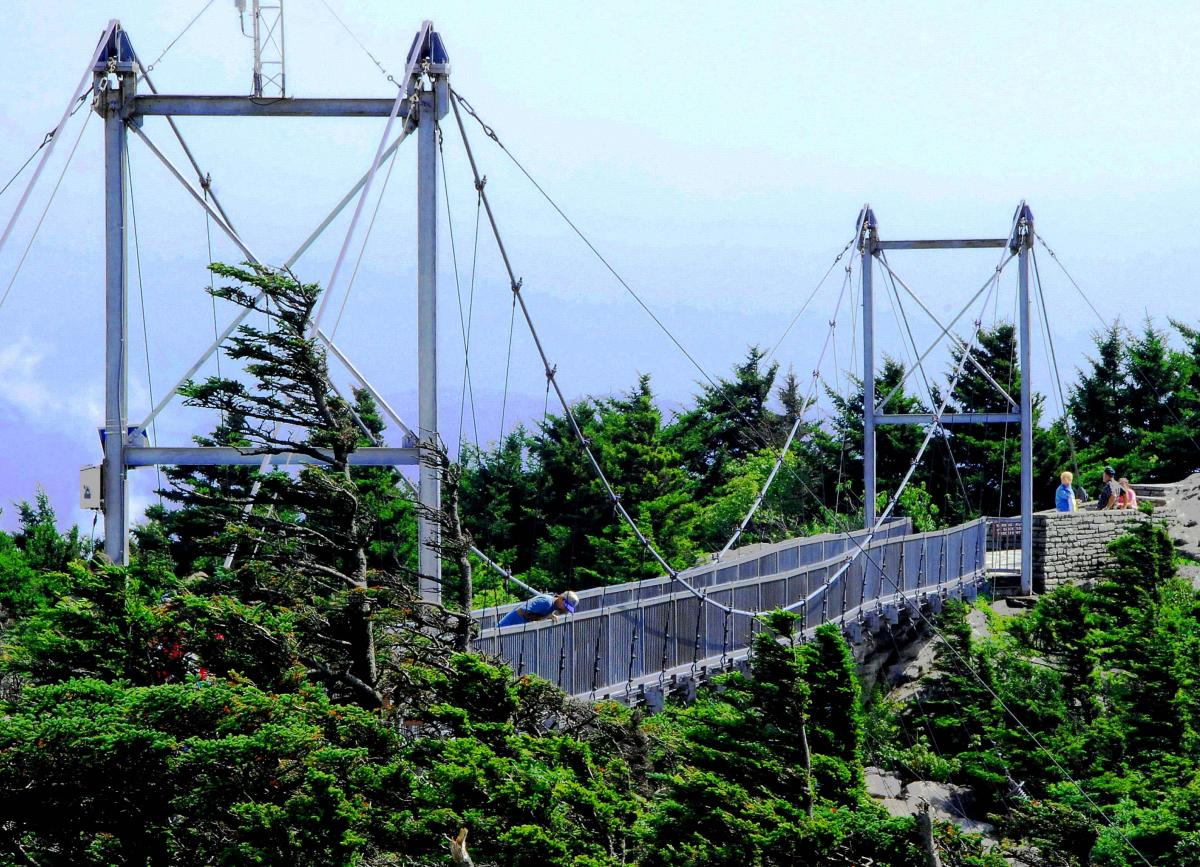 Photo by Helen Hopper, Grandfather Mountain: The Mile High Swinging Bridge. The bridge rests 5,280 feet above sea level and 80 feet above the ground.