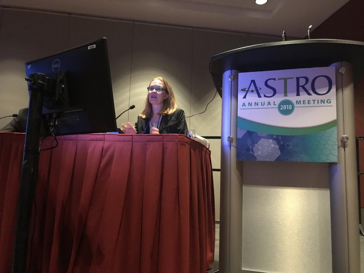 Bridget Koontz, MD, presenting the AbiRT findings at ASTRO18.