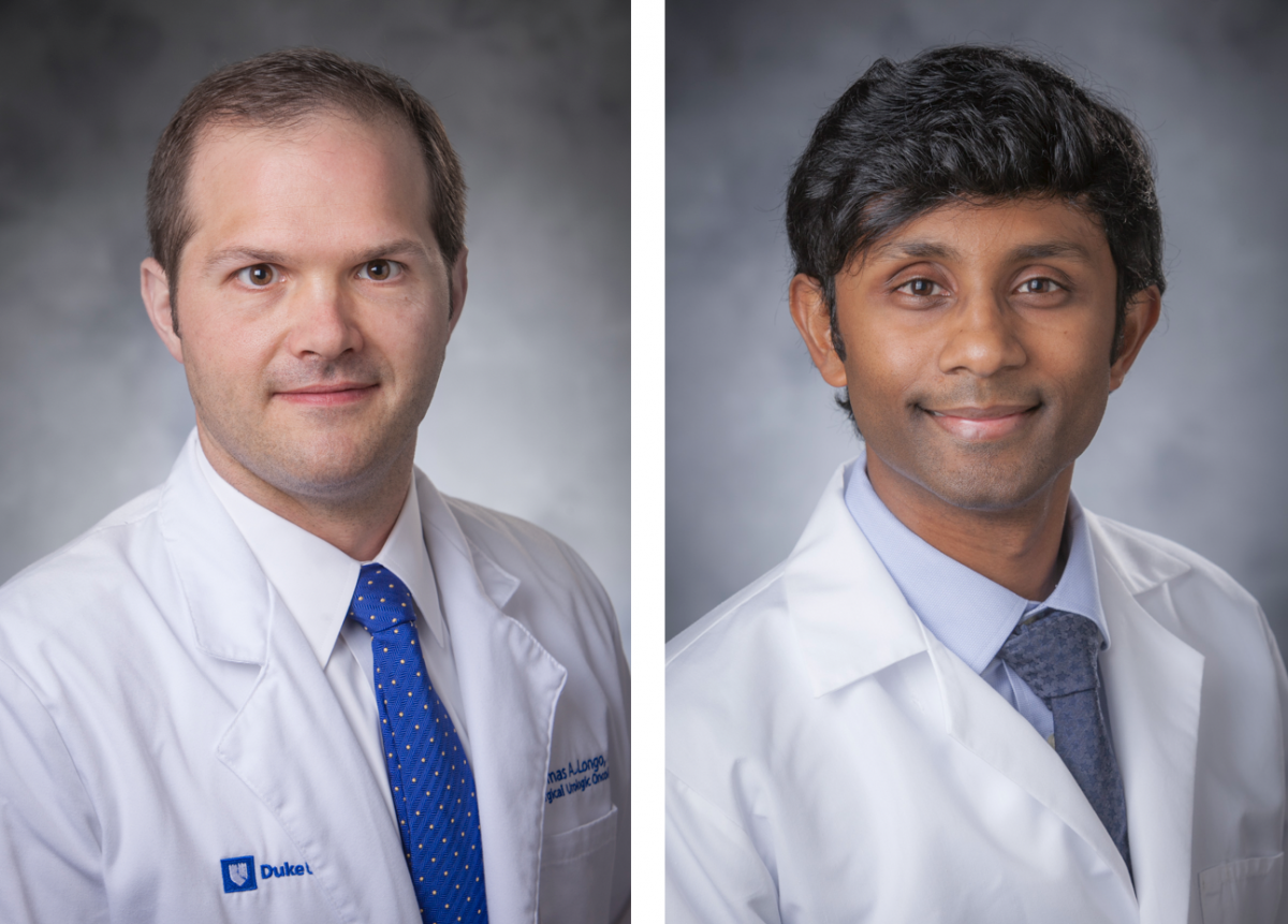 Thomas Logno, MD (left) was Bounds' surgical oncologist at Duke Cancer Center Raleigh. Sundhar Ramalingam (right) is Bounds' medical oncologist.