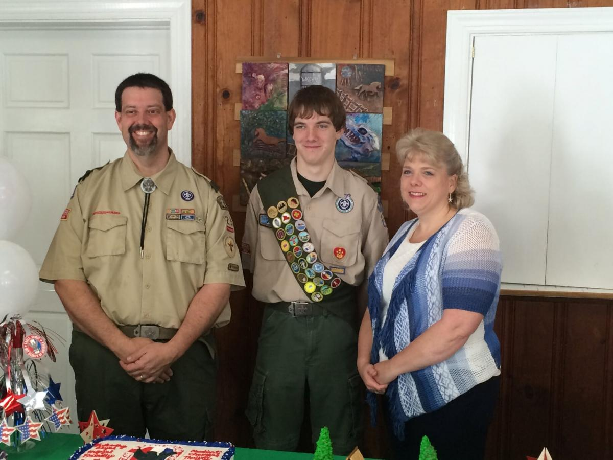 Roger, with his wife (Beth) and son (Matthew) at Matthew's Eagle Scout ceremony